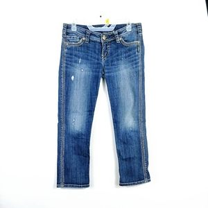 Sliver Jeans Womens Twisted Capri Destressed Jeans